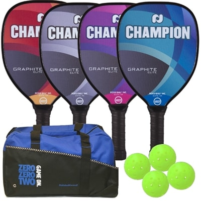 Champion Elite 4-Paddle Bundle includes four graphite paddles, four outdoor balls and a duffel bag