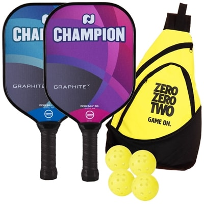 Champion Graphite X Bundle includes two paddles, four balls and a sling bag
