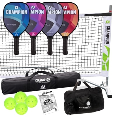 Champion Graphite Elite Deluxe Set includes four pickleball paddles, four balls, portable net system, duffle bag and rule book.