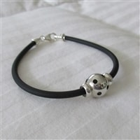 Black Bracelet with Silver Pickleball