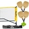 Set includes 4 wood paddles, 18' net and 4 balls.