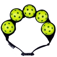 This belt will hold 1-5 pickleballs, choose from green, black, pink, or orange color options.