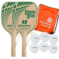 The USA Diller Bundle includes two wood paddles and six outdoor Dura balls, and orange drawstring bag.