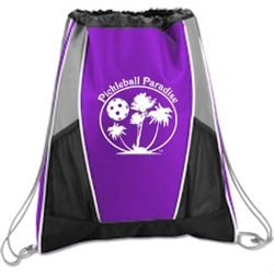 Paradise Cinch Bag is available in several bright colors, holds one paddle and a few balls.