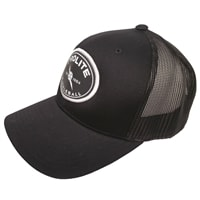 Legacy PROLITE trucker-style hat with brand patch featuring lightning bolt and ball logo on the front, available in black, white, pink, red, and khaki colors.