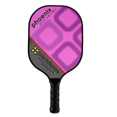Phoenix Pro Paddle features a vibrant colored vinyl surface. Choose from blue, red, green, yellow, purple, orange, pink, turquoise, and black