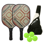 Paddletek Element Bundle, two middleweight poly-core paddles, sling bag and four outdoor balls