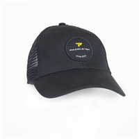 Sleek black Paddletek trucker-style hat with brand patch logo on the front, also in black.