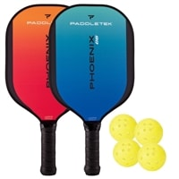Choose from two color combinations, two composite paddles and outdoor balls.