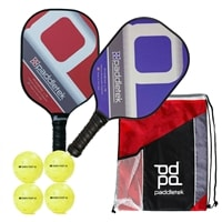 Phoenix Lte Paddle Bundle, two middleweight composite paddles, drawstring bag and four outdoor balls
