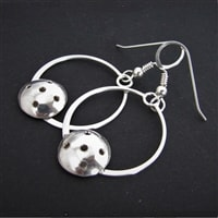 Pickleball Hoop Earrings Made from Sterling Silver
