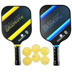 The Rally Graphite Bundle includes two graphite paddles and six balls.  Choose from blue, red, green or yellow and standard or power models.