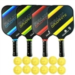 Deluxe Rally Graphite Bundle - includes FOUR Graphite Paddles and TWELVE balls