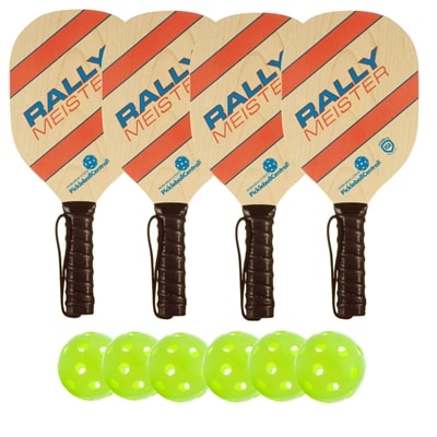 Rally Meister Wood Paddle Deluxe Bundle- includes four wood paddles and four outdoor PickleballNow balls