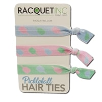 Pickleball Hair Ties - pack of 3. Pastel blue, pink and green hair ties with repeating paddle design in coordinating colors.