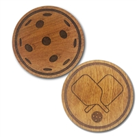 Birch wood pickleball drink coasters come 6 in a set, and are laser engraved with a pair of crossed paddles and a pickleball, with a cork backing.