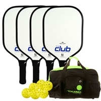 Selkirk Club Composite Bundle, four middleweight composite paddles, 6 outdoor balls and duffel bag
