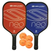 NEO Composite Pickleball Paddle Bundle, two middleweight composite paddles and four outdoor balls