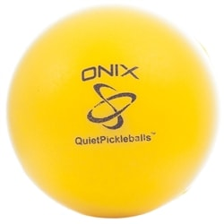 Quietball pickleball from Onix Sports is a yellow foam ball for quieter play.