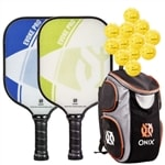 Evoke Pro Bundle, two middleweight poly-core paddles and four balls