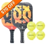 The Inferno Bundle includes two graphite paddles and four balls.