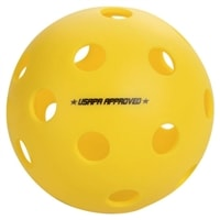 This ball plays consistently right out of the package, available in yellow or orange, 3, 6, or 12 count package.