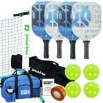 Sub-Zero Pickleball Set - Portable Net, Four Paddles, Four Pickleballs, Bag, Tape and Rule Book
