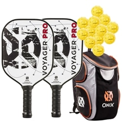Voyager Pro Bundle, two middleweight graphite faced poly-core paddles, 12 balls and backpack.