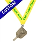 Customized Pickleball Medal featuring a pickleball player hitting a yellow pickleball. Available in gold, silver and bronze.
