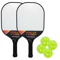 Rally Tyro Bundle- includes two composite paddles and four green indoor PickleballNow balls