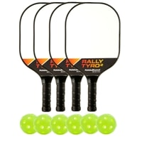 Deluxe Rally Tyro Composite Bundle- includes four paddles and six green indoor PickleballNow balls