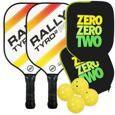 The Rally Tyro 2 Pro Bundle includes two paddles and four balls.