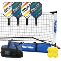 Rally Tyro Pro Set - Portable Net, Four Composite Paddles, Four pickleballs
