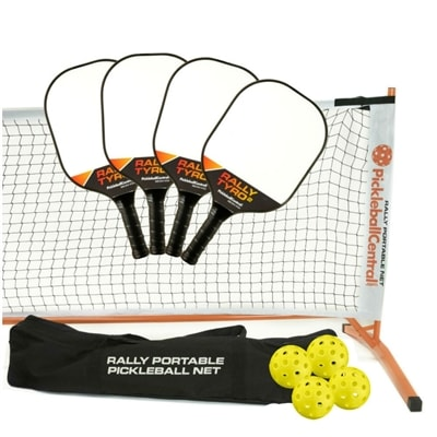 Rally Tyro 2 Set - Portable Net, Four Composite Paddles, Four pickleballs