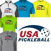 Classic USA Pickleball logo on front of men's shirt in your choice of shirt style and color.