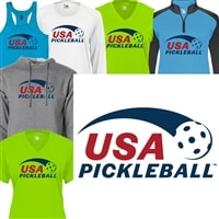 Classic USA Pickleball logo on front of women's shirt in your choice of shirt style and color.