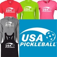 Sporty USA Pickleball logo in white ink on front of women's shirt in your choice of shirt style and color.