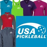 Sporty white ink USA Pickleball logo at left chest of women's shirt in your choice of shirt style and color.