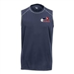 USAPA logo on Challenger Sleeveless Tee for Men. Sizes S-3XL. Navy, Silver