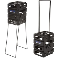 Pickleball Ballport Mini, modified for use with pickleballs, use as a pick-up tool or a stand.