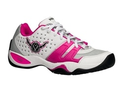 Viking T-22 Women's Shoe in pink and white featuring medial and lateral foot support.