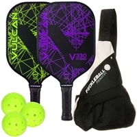 Vulcan V330 Hybrid 2-Paddle Bundle with Sling-style Backpack, includes two paddles, 3 outdoor balls and carry bag.