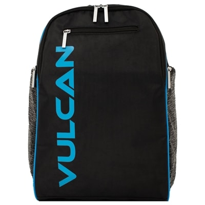 The Vulcan Club Pickleball Backpack features a large center compartment and several small zippered pockets.
