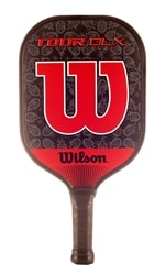 Tour BLX Paddle from Wilson, stunning red and black trademark design with low-profile edge guard and cushion grip/
