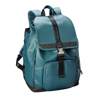 Fold Over Backpack features large main compartment with laptop sleeve and zippered pocket. Choose from black, green or purple