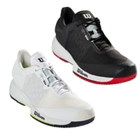 Kaos Swift Court Shoe for Men by Wilson Sporting Goods is available in white with blue and yellow accents, or black with red and blue accents, offered in sizes 7 to 14.