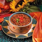 zesty vegetable chili with beans from balanced protein diet
