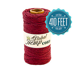 Global Hemp Burgundy 20# Test Waxed Hemp Twine