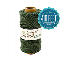 Global Hemp Dark Green 20# Test Waxed Hemp Twine