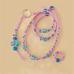 Pink & Turquoise Glass Beads Hemp Jewelry Kit